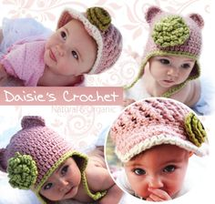 Visor Beanie Hat with Rose  Organic Cotton Pink by daisiescrochet, $26.00