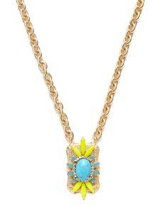 Turquoise Howlite Long Pendant Necklace by Elizabeth Cole at Gilt