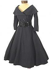 "Bettie Page 50s Inspired  Black ""Secretary"" Dress w/Full Swing Skirt. Looks more like a coat but it's lovely!"