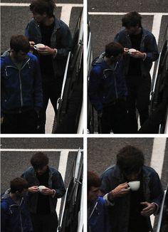 He's adorable. Drinking tea.