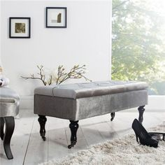 Nowoczesna ławka ze schowkiem do salonu, jadalni,przedpokoju Baroque, Banquette, Shades Of Grey, Ottoman, Storage, Furniture, Home Decor, Polyester, Dimensions
