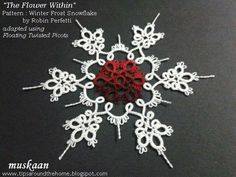 2-coloured tatted snowflakes. free patterns. Using 2 colours to draw out the flower within a snowflake .