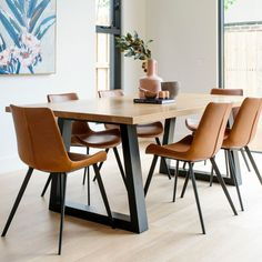 The Dover Dining Chair in tan is contemporary, sleek, stylish and built to last. Available in 4 modern colourways with detailed saddle stitching. Effortlessly paired with the solid timber Oscar Table for a stylish dining setting. Contemporary, Modern, Stitching, Dining Chairs, Tables, Stylish, Furniture, Home Decor, Costura