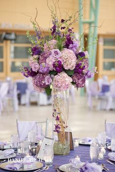 Lush lavender and purple wedding features varying tones of purple for a beautiful look. Images by Daniel Micheal, Event Planning by Your Dream Day, Flowers by Floral V and Event Decor by Prime Time Party Rental Purple Wedding Tables, Wedding Reception Flowers, Lilac Wedding, Purple Wedding Flowers, Floral Wedding, Wedding Colors, Wedding Bouquets, Our Wedding, Lavender Weddings
