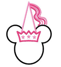 Princess Minnie Mouse Applique Machine Embroidery Design In 4 Sizes
