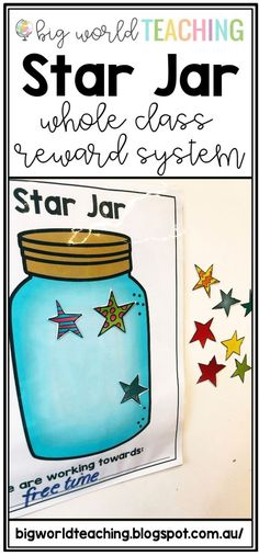 Star Jar – Whole Class Reward System FREE PRINTABLE! Whole class rewards are perfect to encourage classroom culture and a team approach to learning! Class Reward System, Classroom Reward System, Reward System For Kids, Classroom Behavior Chart, Classroom Charts, Classroom Ideas, Positive Behavior Chart, Classroom Organisation, Primary Classroom