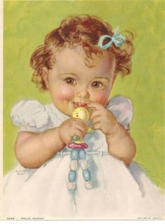 - Illustration by Charlotte Becker Baby Images, Children Images, Images Vintage, Vintage Pictures, Vintage Greeting Cards, Vintage Postcards, Old Posters, Baby Kind, Vintage Labels