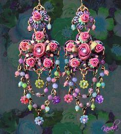 Sweet, Feminine Draped Pastel Flower Chandelier Earrings, Pink Roses, Purple, Fantasy, Shabby-Chic Jewelry- MTO