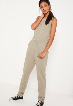 green loop back sleeveless jumpsuit