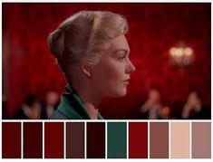 Movie Color Palette, Colour Pallette, Colour Schemes, Color In Film, Cinema Colours, Film Inspiration, Indie Movies, Alfred Hitchcock, Vertigo