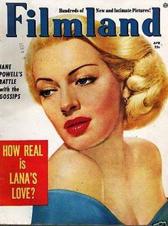 Lana Turner on the cover of Filmland magazine, April 1954, USA.