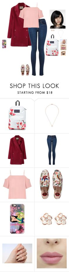 """""""~ Lany ~"""" by hanakdudley ❤ liked on Polyvore featuring JanSport, Shaun Leane, WithChic, T By Alexander Wang, Gucci, Casetify and BTSWithHana"""