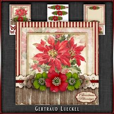 Vintage Christmas Poinsettia Card Kit 1036 by Gertraud Lueckel Beautiful 7.5 inch topper with decoupage and matching insert. 3 sheets base with sentiment tags decoupage and insert with notecard. Sentiments are Merry Christmas Happy Holidays With Love Christmas Blessings A little Note and one blank