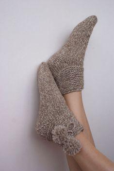 Knitted Slippers, Wool Socks, Knitting Socks, Hand Knitting, Knitting Patterns, Mohair Yarn, Alpaca Wool, Brown Socks, Thick Socks