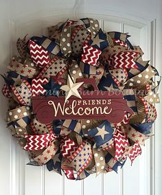 4th of July Wreath, July 4th Wreath, Welcome Wreath, Memorial Day Wreath, Patriotic Wreath, July 4th Decor, Patriotic Decor, Welcome Truck by CharmingBarnBoutique on Etsy
