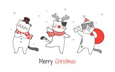 Draw cute cat in red bag santa claus for christmas Vector