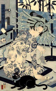 "A wonderful ""demon cat"" painting from his 'The Giga Painting' series by Japanese artist Hiroshi Hirakawa. 25 x 39 in. Japan Illustration, Illustration Photo, Illustrations, Japanese Painting, Japanese Prints, Japanese Fabric, Japanese Cat, Japanese Culture, Cat Art"