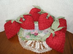 Red Heart Sachet Vintage Chenille Sachet Dried by VintiqueDesigns