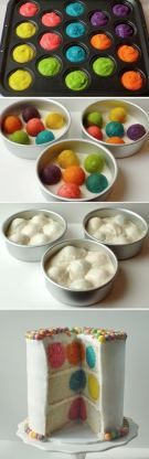 Bake colored balls. Pour white cake mix on top!