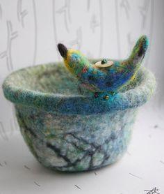 Felted Handmade Felt Bowl - Wet Felt - Needle Felted Bird Decoration