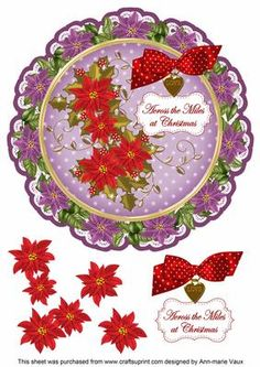 Purple R Poinsettia Across Miles 8in Doily Decoupage Topper on Craftsuprint - Add To Basket!