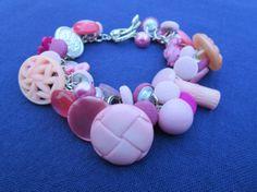 Fun Pink Dangly Button Bracelet by RockCandyCrafts on Etsy, $14.00