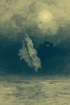 Paul Gustave Doré - Back into the Tempest (illustration to Edgar Allan Poe's - The Raven)