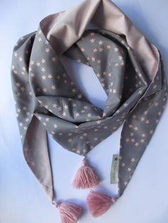 Foulard Nuée d'étoiles rose & gris