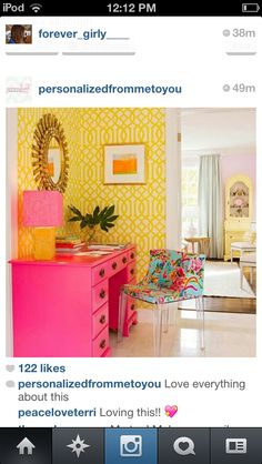triadic: this room is so vibrant. it is fun too. the pink is closer and it pops  with the yellow walls. i love how the chair brings it all together.