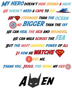 Superhero Prayer Printable You can print and send home with your kids to decorate their rooms or their locker at school as a reminder that God loves them and is watching over them. Sunday School Rooms, Sunday School Lessons, Sunday School Crafts, School Staff, Hero Central Vbs, Childrens Ministry Deals, Children Ministry, Women's Ministry, Superhero Classroom