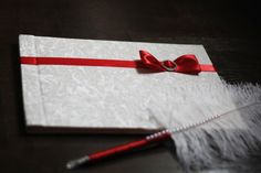 Red or White Handmade Wedding Guest Book and by LandOfAccessories