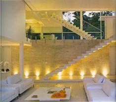 Construindo Minha Casa Clean: 30 Salas Decoradas com Escadas Encostadas na Parede!