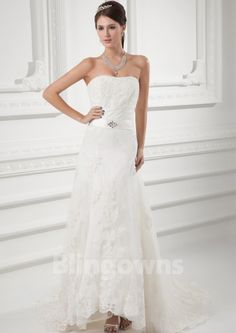 Strapless Zipper Tulle Appliques Sleeveless Sweep A-line White Wedding Dresses