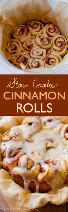 Easy Crock Pot Cinnamon Rolls Slow Cooker Recipe Sally's Baking Addiction - The BEST Cinnamon Rolls Recipes - Perfect Treats for Breakfast, Brunch, Desserts, Christmas Morning, Special Occasions and Holidays Crock Pot Desserts, Slow Cooker Desserts, Delicious Desserts, Yummy Food, Crock Pots, Tasty, Crock Pot Bread, Crock Pot Recipes, Crockpot Ideas