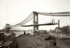 1909 view from Brooklyn of Manhattan Bridge under construction