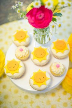 Need a party to lighten up a gloomy day? This You Are My Sunshine Birthday Party is bursting with delight here at Kara's Party Ideas! First Birthday Cupcakes, 1st Birthday Themes, Baby Shower Cupcakes, Birthday Cookies, 1st Birthday Girls, 1st Birthday Parties, Birthday Celebration, Birthday Ideas, Sunshine Cupcakes