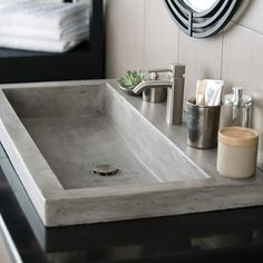 Rethink the bathroom sink. Trough 3619 Concrete Bathroom Sink completely captures a smooth, modern aesthetic - and a distinct, rustic sensibility. Stone Bathroom Sink, Drop In Bathroom Sinks, Natural Bathroom, Concrete Bathroom, Dream Bathrooms, Bathroom Faucets, Modern Bathroom, Small Bathroom, Kitchen Sink
