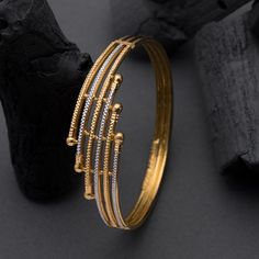 Kadli Bangles gms) - Fancy Jewellery for Women by Jewelegance Gold Ring Designs, Gold Bangles Design, Gold Earrings Designs, Gold Jewellery Design, Gold Bracelet For Women, Gold Bracelets, Gold Bangles For Women, Charm Bracelets, Gold Mangalsutra Designs