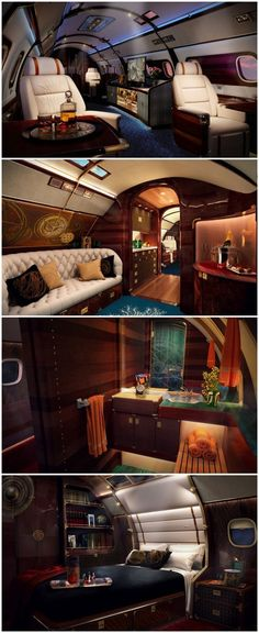 The World's Most Luxurious Private Jet Is a Yacht for the Sky...* collage by @styleestate #luxuryyachtinterior