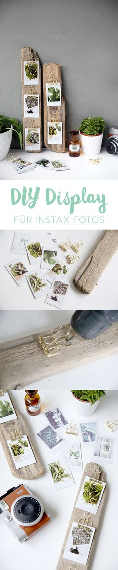 Kreative DIY Idee zum Selbermachen: DIY Foto-Display aus Treibholz basteln mit I… Creative DIY idea for DIY: DIY photo display made of driftwood with Instax instant photos Diy Photo, Photo Ideas, Instant Display, Decoration Photo, Creation Deco, Diy Home Crafts, Photo Displays, Diy Gifts, Diys