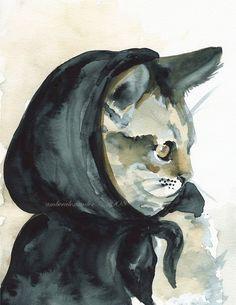 cat print- little Inky Riding hood- Cat art