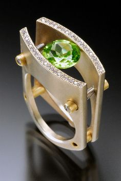 Love Peridot Gemstones and looks Great in this Modern Ring Design ♥༺❤༻♥