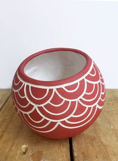 Red Hand Carved Ceramic Vessel Geometric Sgraffito by Seramiks