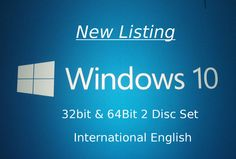 Windows 10 (INTL ENGLISH) 32 + 64bit Home & Pro Upgrade Install DVDs 2 Disc Set #Microsoft