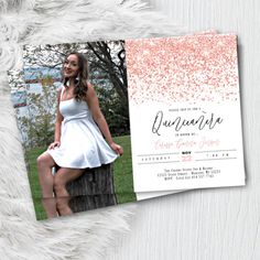 Rose Gold Sweet 16 Invitation with Photo, Quinceanera Sweet 15 Birthday Invite with picture, Printed Script Glitter Pink Blush Party Flyer Quince Invitations, Sweet 16 Invitations, Quinceanera Invitations, Photo Invitations, Gold Invitations, Birthday Invitations, Invitation Design, Invites, Invitation Cards