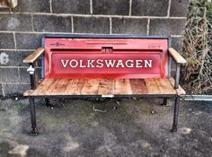 Yesterday Reclaimed's Blue Collar Bench - 1980's VW Rabbit Truck tailgate. The…