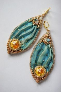 ~~Sea Green Mermaid Beaded Shibori Earrings with Swarovski by ZuziHake~~