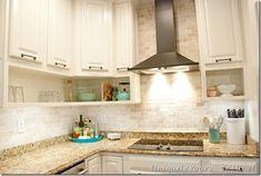 Final stage of DIY kitchen remodel, raised kitchen cabinets, open cabinetry, painted cabinets Open Cabinets, Diy Kitchen Cabinets, Kitchen Tile, Painting Kitchen Cabinets, Kitchen Paint, Kitchen Redo, Kitchen Ideas, Advance Paint, Kitchen Butlers Pantry