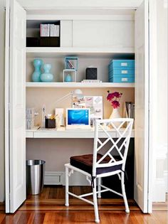 This office looks so nice it doesn't need to be hid in a closet! My desk however... This would be a good solution for me