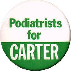 Button promoting Jimmy Carter in the 1976 presidential election.